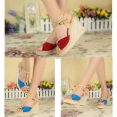 "Fashion Women""s Canvas Bow Peep Toe Espadrille High Heels Wedge Platform Pumps Sandals Shoes Size 36-39"