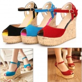 Women Platform High Heel Wedges Ankle Strap Shoes Casual Frosted Sandals