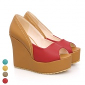 "Women""s OL High Platform Color Block Shoes Wedge Peep Toe Pumps Sandals"