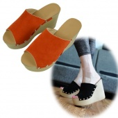 "Fashion Woman""s Girl Wedge Suede Fish Mouth Wedge Slippers Shoes 2Colors"