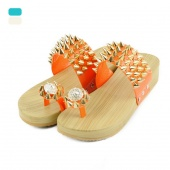 "Women""s Punk Style Metal Rivet Bird""s Nest Wedges Thong Slippers"