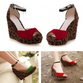 Woman Girls Sexy Leopard Wedge High Heel Shoes Casual Sandals 3Colors