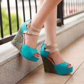 Women's Platform High Heel Wedges Ankle Strap Shoes Pumps Comfort Sandals 3Colors