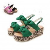 "Women""s Shoes Bowknot High Heel Wedge Peep Toe Sandals Ankle Strap Shoes"