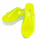 "Ladies Women""s Clear Transparent High Platform Wedge Shoes Slippers Sandals"