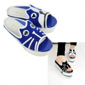 Woman Girls Cute Animal Print Sponge Cake Heel Slippers Shoes Black/ Blue