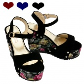 Women Casual Single Band Open Toe High Heel Wedge Shoes Pump Platform Sandals 3 Colors 4 Sizes
