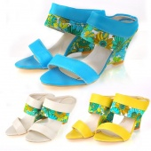 Women's High Wedge Heel Shoes Flower Printing Sandals 3 Colors 4 Sizes