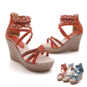 Women's Braided Beads Strap Platform High Heel Wedge Peep Toe Sandals Shoes