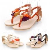 "Fashion Woman""s Girl Bohemia Style Rhinestone Embellished Thong Sandal Flats Shoes 3Colors"