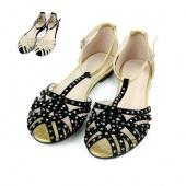 Women T Strap Sandals Flats Slip on Slides Shoes Crystal Studs Gladiator