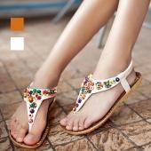 ESY Fashion Women's Bohemia Peep Toe Flat T-Strap Sandal Shoes Flip-Flop 2 Color