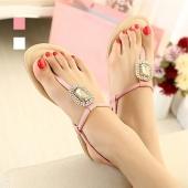 Fashion Women's Crystal Peep Toe Flat Sandal Shoes Flip-Flop 2 Colors Size 36-39