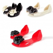 Women's Lovely Candy Open Toe Sandals Romantic Flower Flat Heel Sandals Jelly Summer Shoes 3Colors