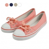 Women Lacing Slip on Boat round Toe Moccasin Flat Canvas Shoes 4Colors