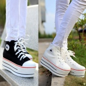Women Ladies Canvas High Top Sneakers Platform Heels Trainers Flats Shoes