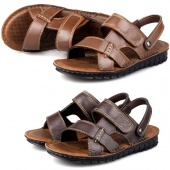 Male Casual Leather Male Slippers Beach Shoes Sandals 2 Colors 6 Sizes