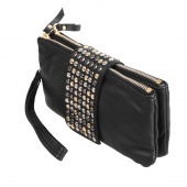 Korean Style Synthetic Leather Handbag Rivet Lady Clutch Purse Wallet Evening Bag