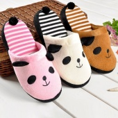 Korean Ladies Winter Warm Soft Cute Anti-slip Panda with Tail Women Slippers