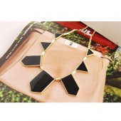 2012 Top Personalized Black Geometric Shape Choker Disposition Bib Necklace