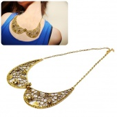 Retro Metal Rhinestone Hollow Out Flower False Collar Choker Bib Necklace