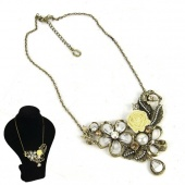 "Women""s Fashion Vintage Retro Solid Rose Pearl Style Short Necklace"