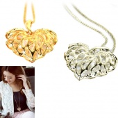 Fashion Hollow Leaves Love Zircon Sweater Chain Pendant Long Necklace