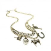 "Women""s Fashion Vintage Retro Hunter Short Chain Necklace"