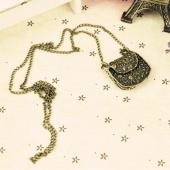 Fashion 5 Pcs Vintage Carving Bag Necklace Pendant Sweater Chain Bronze