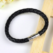 Fashion Black Leather Stainless Steel Braided Bracelet Wristband Guff for Gift