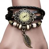 Fashion Quartz Weave Wrap Synthetic Leather Bracelet Women's Wrist Watch 5 Colors