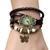 Women Leather Wrist Watch Bracelet Retro Vintage Butterfly Pendant Weave Wrap Quartz