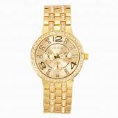 Fashion Luxury Gold Crystal Quartz Rhinestone Date Lady Women Wrist Watch