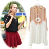 Womens Vintage Sequins Peter Pan Collar Puff Sleeve Sheer Loose Tops Blouse 3Colors