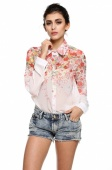 Women's Printing New Fashion Chiffon Shirt Top T Shirt Blouses Size S M L