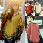 Women Batwing Sleeve Tassels Hem Style Cloak Poncho Cape Tops Knitting Sweater Coat Shawl