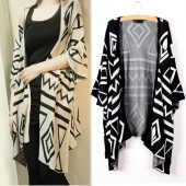 Women Loose Batwing Sleeve Geometric Knit Cardigan Jumper Sweater Outwear 3 Colors