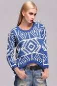 Women Knit Geometry Design Printed Long Sleeve Pullovers Sweater