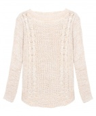 Women Ladies round Crew Neck Weaving Pullover Sweater Jumper Hollow Knitting Outwear Cardigan Tops