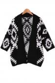 Women's Geometric Pattern Loose Sweater Wrap Cape Cardigan Outwear