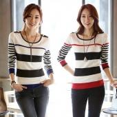 Women's Autumn Winter New Korean Style Fashion Casual Long Sleeve Stripe Thin Sweater Pullover