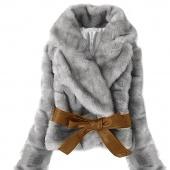 Fashion Lady Warm Coat Faux Fur Rabbit Hair Jacket Fluffy Short Outwear Belted