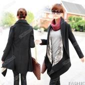 Fashion Korea Grace Women's Woolen Winter Coat Long Cape Clock Jacket Black