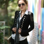 "Women""s Ladies Korean Fashion Long Sleeve Double-breasted Suit Slim Jacket Coat Black"