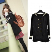Vintage Korean Girl Stripe Lapel Double-breasted Thin Coat College Wind Naval Style Outwear Jacket