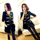 Korea Women's Golden Buttons Double-breasted Cardigan Outerwear Coat Black