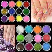 24 Colors Metal Shiny Glitter Nail Art Tool Kit Acrylic UV Powder Dust Stamp