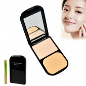 Women's Clear Invisible Pressed Powder Foundation Makeup Compact Cake Powder with Concealer Pencile