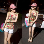 "Korea Women""s Fashion Slim Printing Sleeveless Shoulder Pad T-shirt"