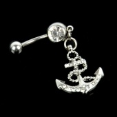 Stainless Steel Double Crystal Cross Dangle Piercing Belly Barbell Navel Ring